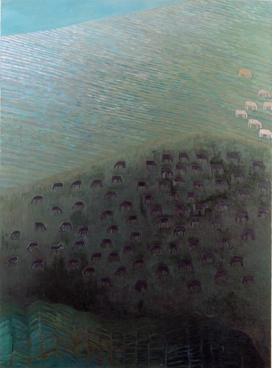 Pejzaż ze zwierzętami-2, 150x110 cm